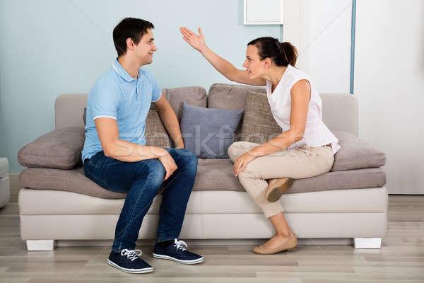 пару аргумент дома человека прослушивании сердиться Сток-фото © AndreyPopov