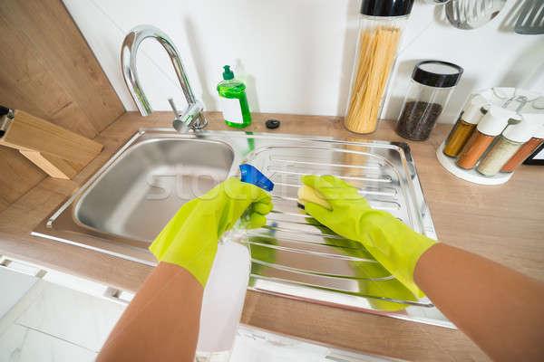 Vrouw hand schoonmaken dienst Stockfoto © AndreyPopov