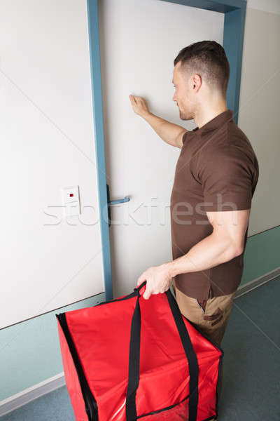 Pizza mensajero puerta grande rojo bolsa Foto stock © AndreyPopov