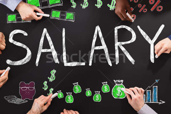 Salary Word On Blackboard Stock photo © AndreyPopov
