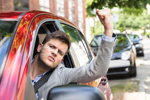 Angry Man Sitting Inside Car Stock photo © AndreyPopov