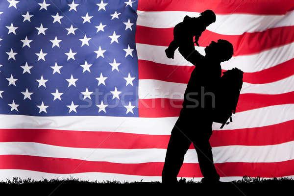 силуэта солдата ребенка американский флаг любви Сток-фото © AndreyPopov