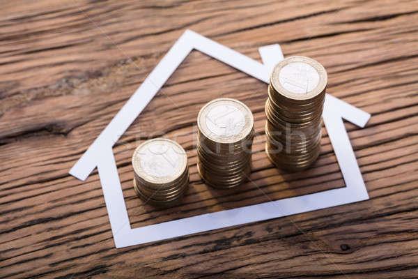 ストックフォト: コイン · 紙 · カット · 家