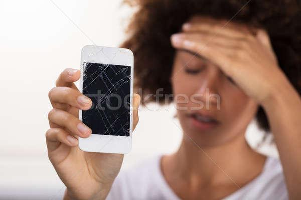 Foto stock: Mulher · quebrado · telefone · móvel · mulher · jovem