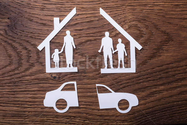 White Paper Cutout Of A Family Split Apart With Car Stock photo © AndreyPopov