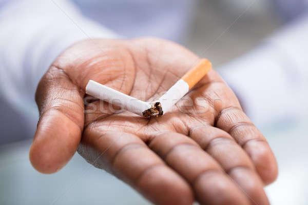 Kéz tart törött cigaretta makró lövés Stock fotó © AndreyPopov