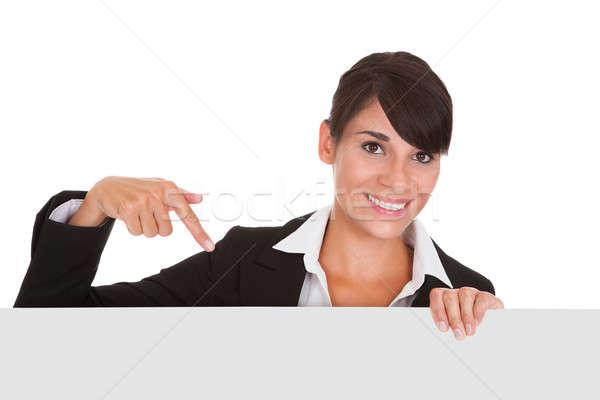 молодые деловая женщина плакат счастливым белый Сток-фото © AndreyPopov
