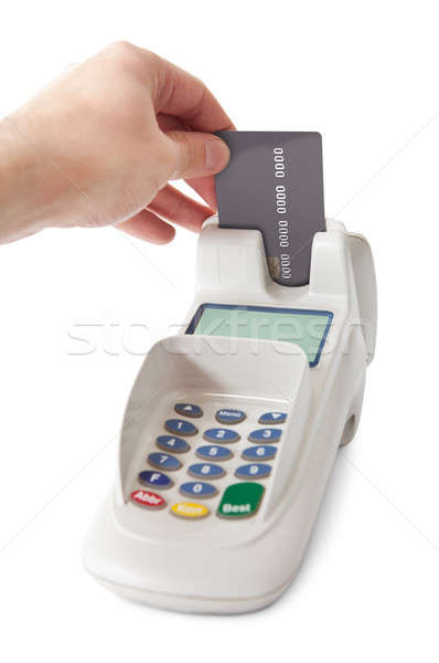 Inserting credit card into bank terminal Stock photo © AndreyPopov