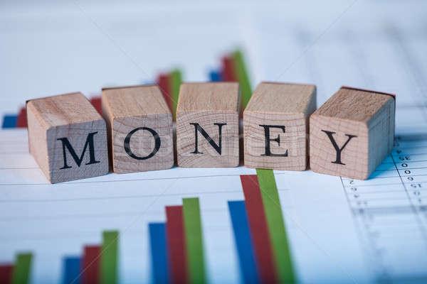 Stock bár grafikonok fakockák pénz felső Stock fotó © AndreyPopov