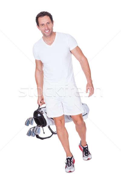 Golfozó tart táska izolált fehér mosoly Stock fotó © AndreyPopov
