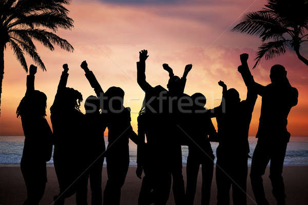Stock Photo Silhouette People Partying On Beach At Sunset