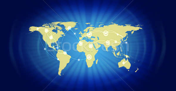 World Map Representing Global Business Stock photo © AndreyPopov