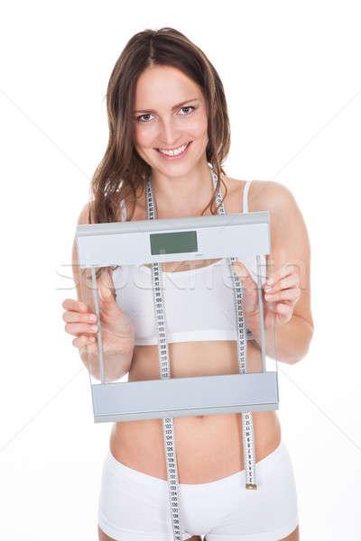 Photo stock: Mince · jeune · femme · poids · échelle · mesure
