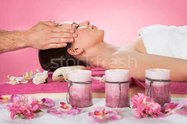 Woman Receiving Head Massage In Spa Stock photo © AndreyPopov