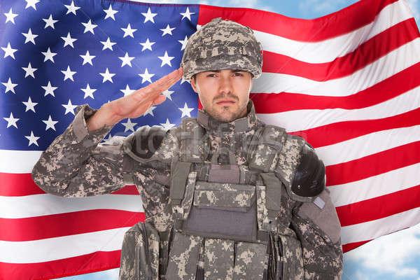 Soldier Saluting Stock photo © AndreyPopov