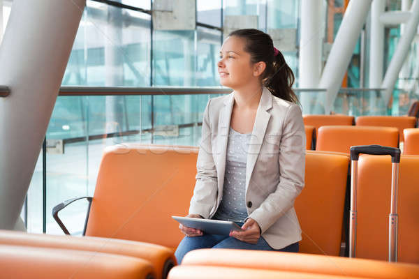 Businesswoman With Digital Tablet Waiting At Airport Lobby Stock photo © AndreyPopov