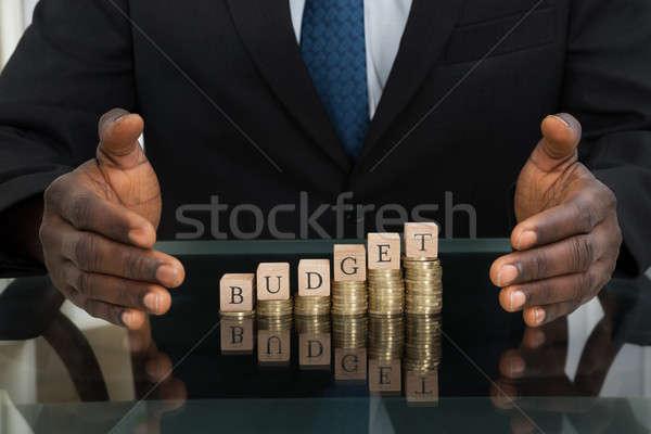 Empresário palavra orçamento moedas Foto stock © AndreyPopov