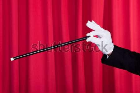 Közelkép bűvész mutat trükk öltöny varázspálca Stock fotó © AndreyPopov