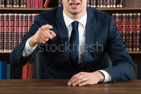 Lawyer Arguing While Sitting At Desk Stock photo © AndreyPopov