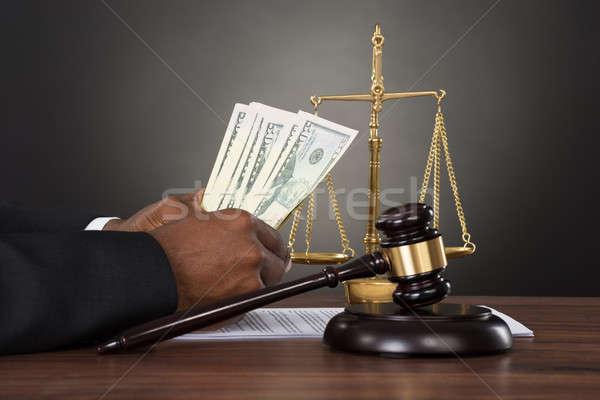 Сток-фото: судья · рук · доллара · молоток