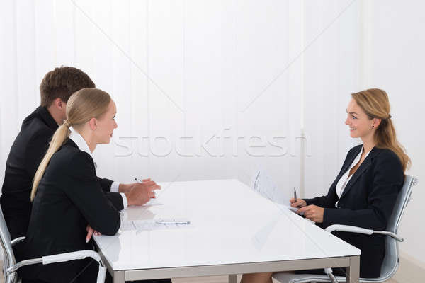 ストックフォト: 女性 · マネージャ · 申請者 · 小さな · オフィス · ビジネス