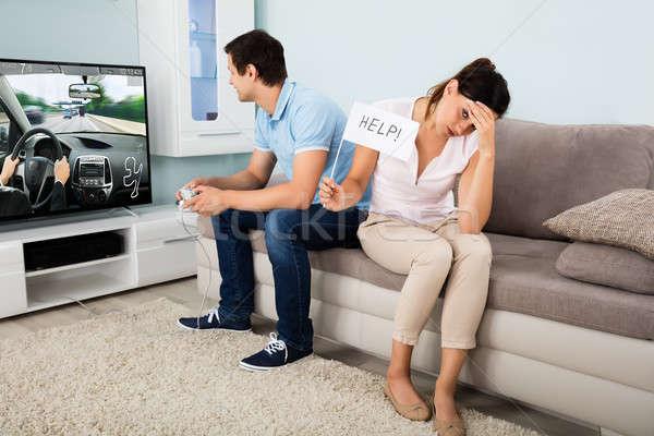 женщину помочь муж играет видеоигра Сток-фото © AndreyPopov