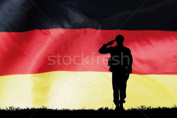 Solider Silhouette With German Flag Stock photo © AndreyPopov