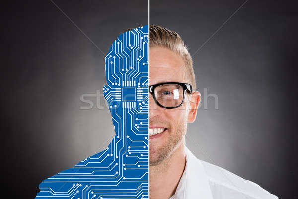 Two Faces Showing Smiling Businessman And Digital Human Stock photo © AndreyPopov
