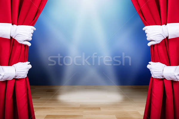 Two People Opening Red Stage Curtain Stock photo © AndreyPopov