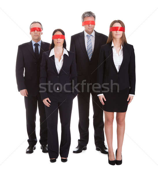 Group Of Business People's Eyes Covered With Ribbon Stock photo © AndreyPopov