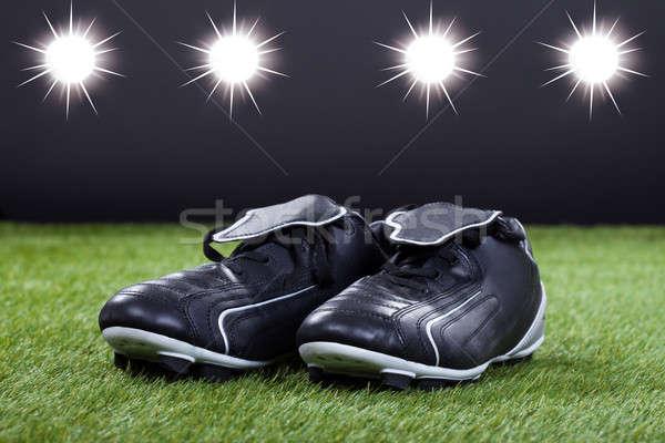サッカー 靴 緑 ピッチ クローズアップ スポーツ ストックフォト © AndreyPopov