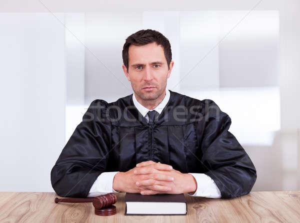 портрет серьезный мужчины судья молоток книга Сток-фото © AndreyPopov