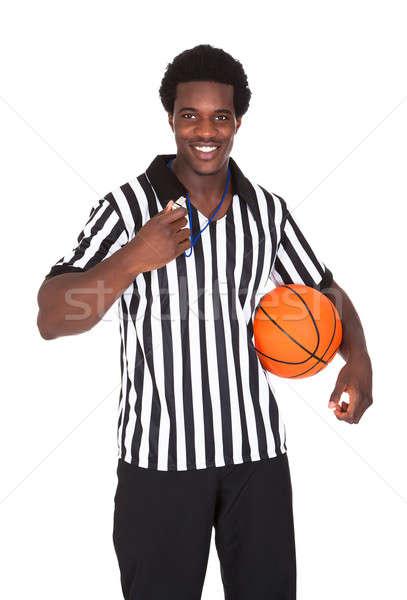 Feliz basquetebol árbitro retrato isolado branco Foto stock © AndreyPopov