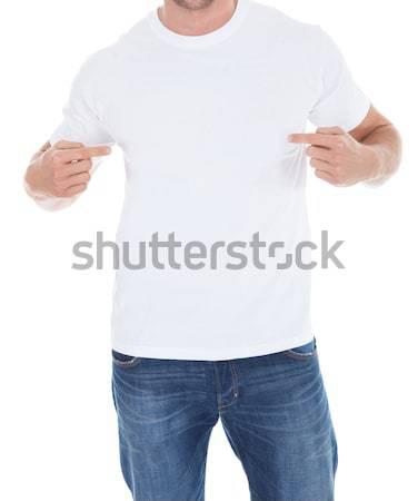 Stock fotó: Férfi · mutat · fehér · póló · közelkép · kezek