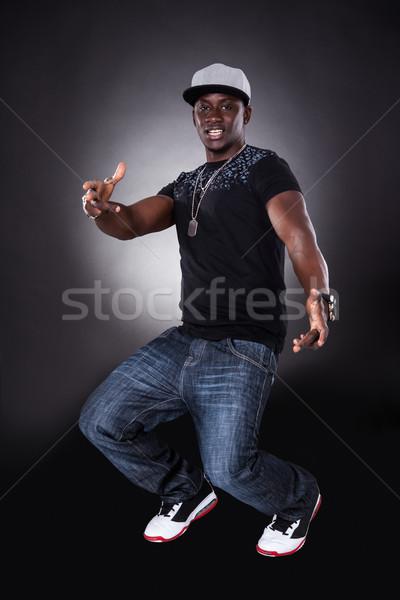 Stok fotoğraf: Afrika · genç · dans · mutlu · siyah · arka · plan