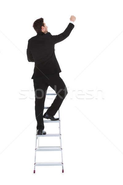бизнесмен скалолазания карьеру лестнице вид сзади Сток-фото © AndreyPopov