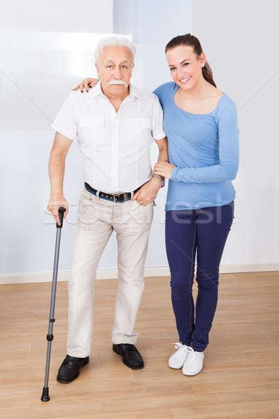 Gondozó idős férfi portré női öregek otthona Stock fotó © AndreyPopov