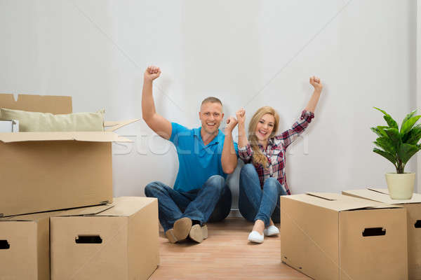 Young Couple Cheering In New Home Stock photo © AndreyPopov