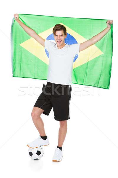 Piłkarz Brazylia banderą biały piłka nożna Zdjęcia stock © AndreyPopov