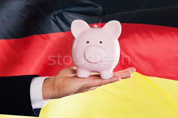 German Businessman Holding Piggybank Stock photo © AndreyPopov