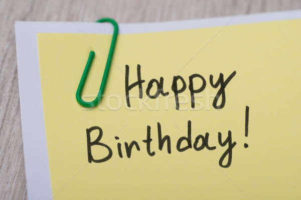 Happy Birthday ! Written On Yellow Note Stock photo © AndreyPopov