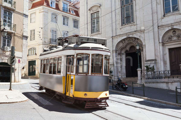 Classic Tram Moving On Street Stock photo © AndreyPopov
