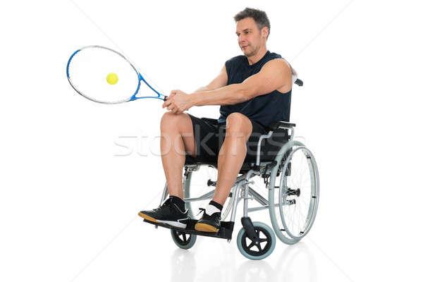 Upośledzony gracz gry tenis wózek biały Zdjęcia stock © AndreyPopov