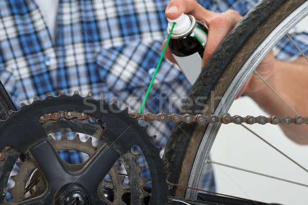 Сток-фото: человек · рук · велосипедов · цепь · металл
