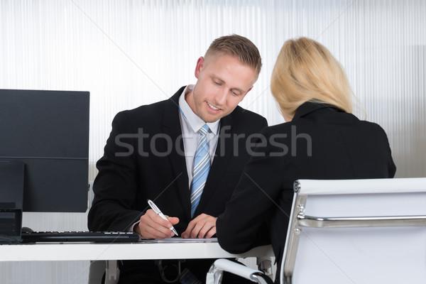 Zakenman kandidaat interview kantoor jonge vrouwelijke Stockfoto © AndreyPopov