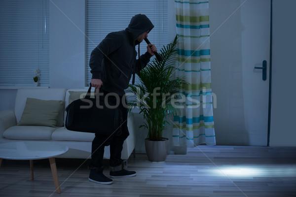 Rabló elemlámpa táska sétál nappali teljes alakos Stock fotó © AndreyPopov