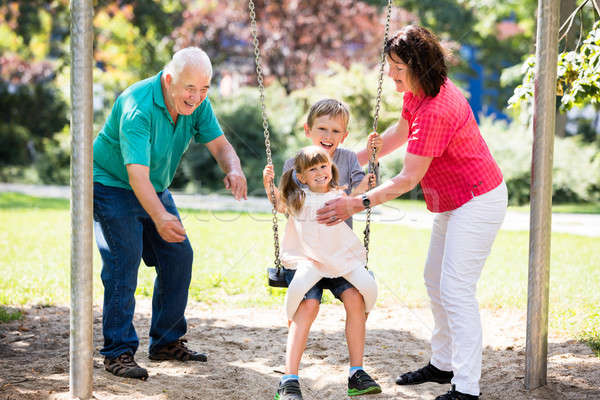 Happy Granddaughter Preparing For Swing With Their Grandparent Stock photo © AndreyPopov