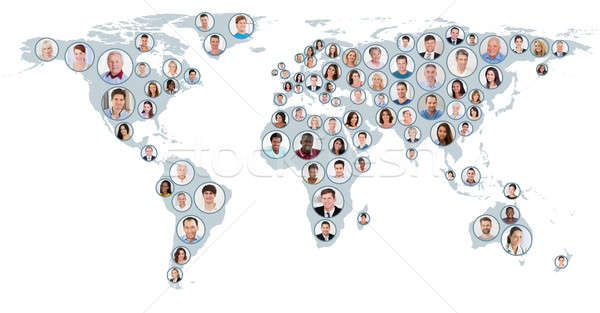 Collage Of People On World Map Stock photo © AndreyPopov