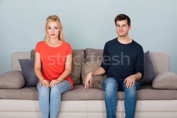 Shy Man Flirting With Woman At Home Stock photo © AndreyPopov