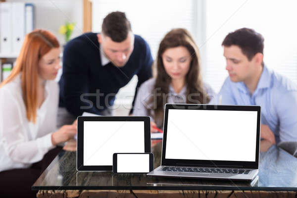 Modern Electronic Devices On Office Desk Stock photo © AndreyPopov